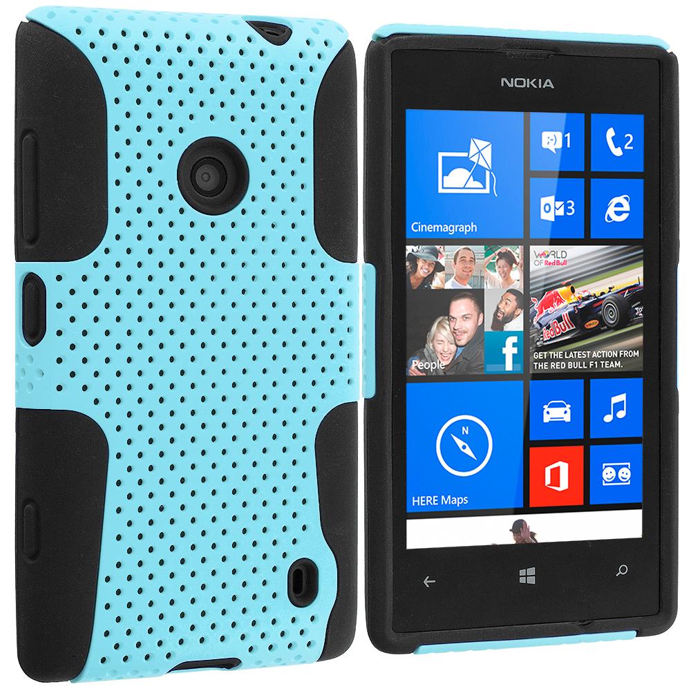 Nokia Lumia 520 Black / Baby Blue Hybrid Mesh Hard/Soft Case Cover