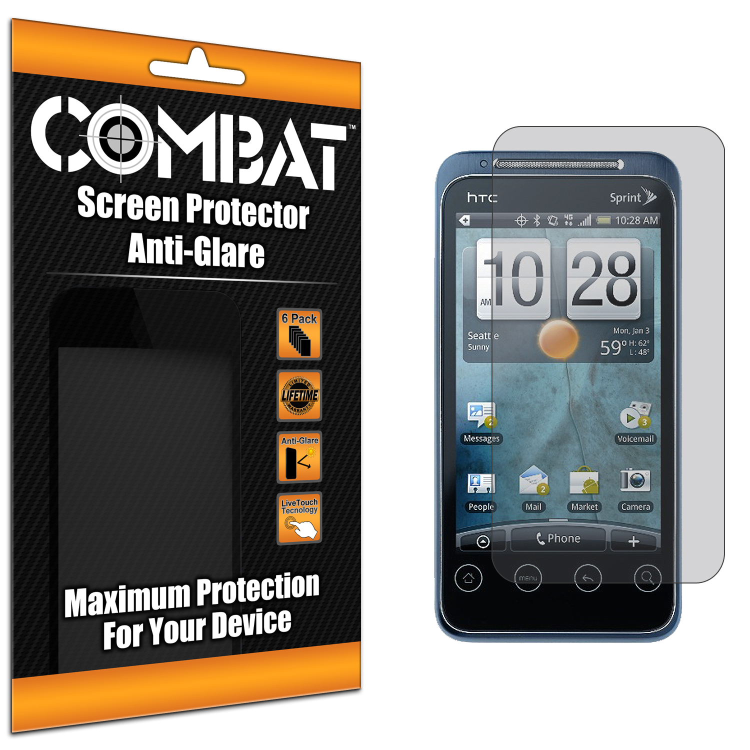 HTC EVO Shift 4G Combat 6 Pack Anti-Glare Matte Screen Protector