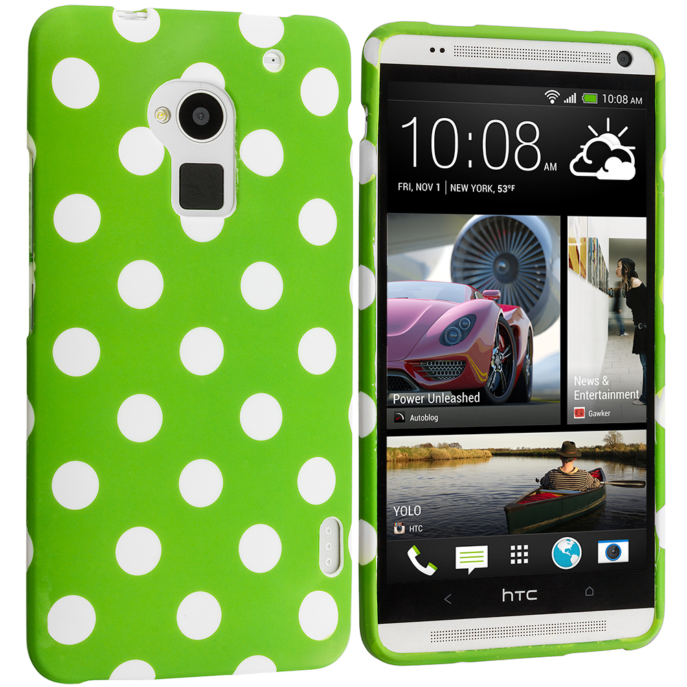 HTC One Max Neon Green / White TPU Polka Dot Skin Case Cover
