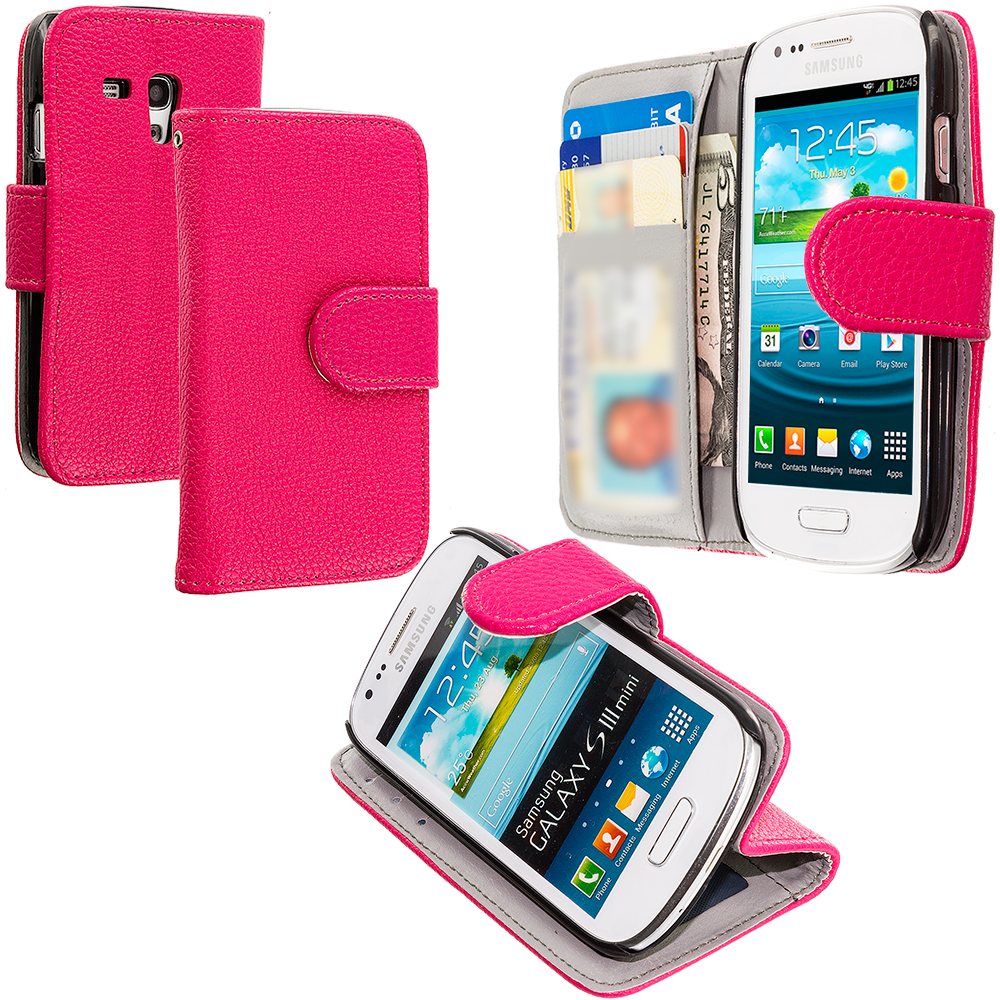 Samsung Galaxy S3 Mini Hot Pink Leather Wallet Pouch Case Cover with Slots