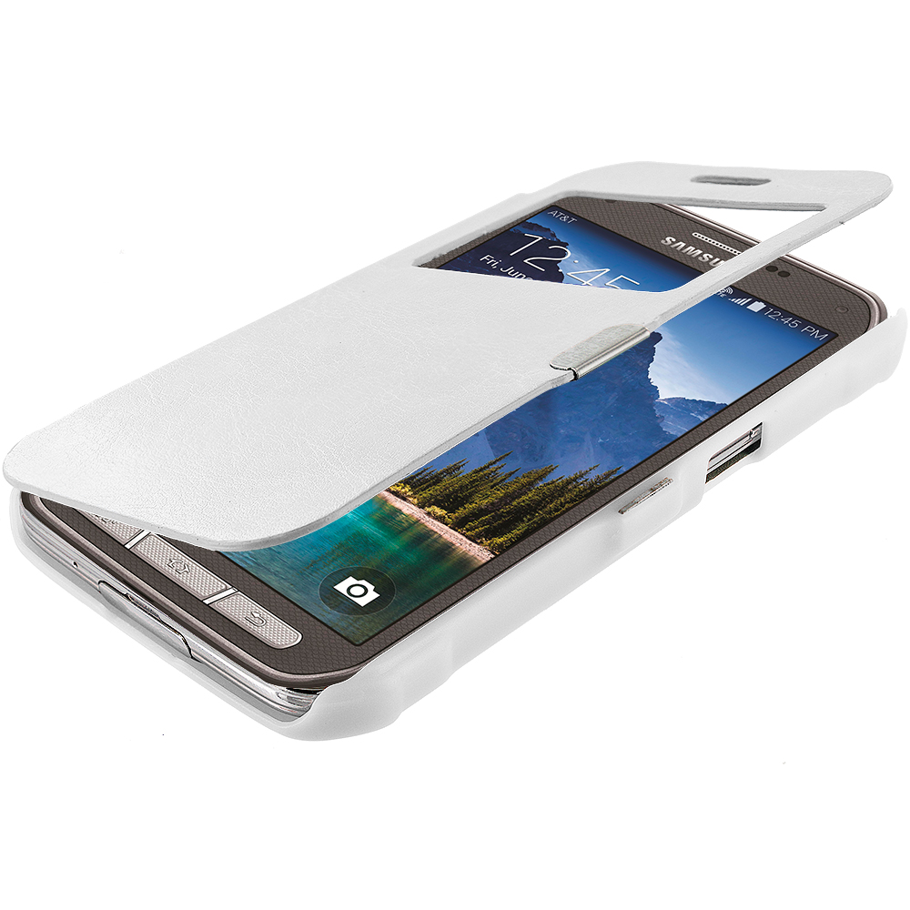 Samsung Galaxy S5 Active White (Open) Magnetic Wallet Case Cover Pouch