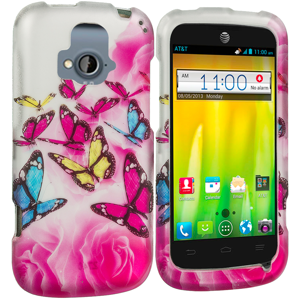 ZTE Radiant Pink Colorful Butterfly 2D Hard Rubberized Design Case Cover