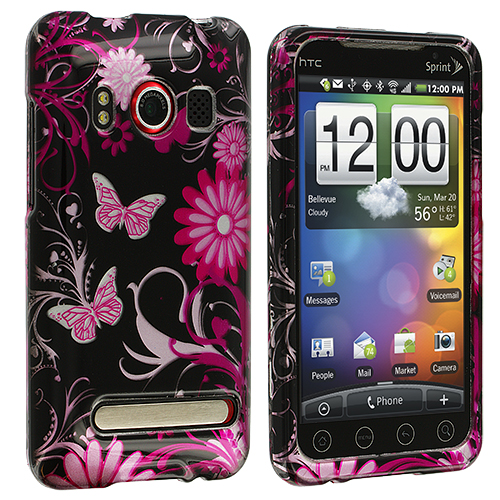 HTC EVO 4G Pink Butterfly Flowers Design Crystal Hard Case Cover