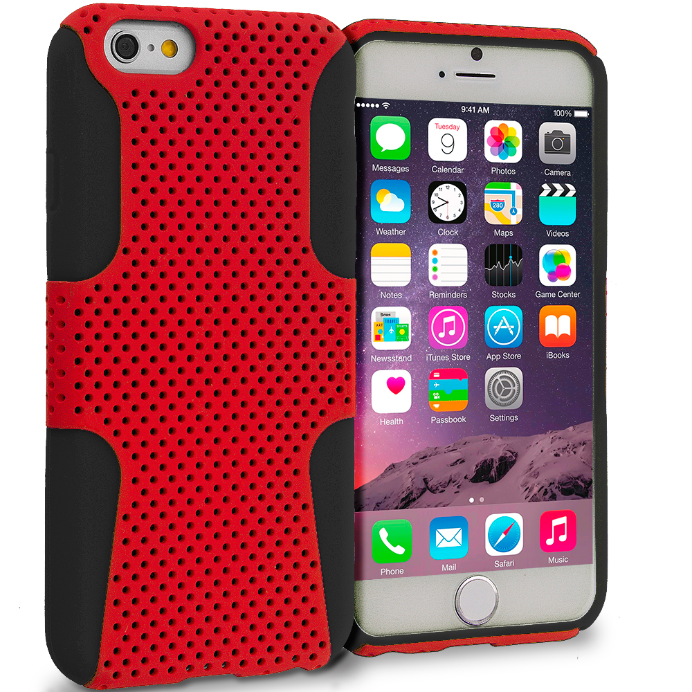 Apple iPhone 6 6S (4.7) 4 in 1 Combo Bundle Pack - Hybrid Mesh Hard/Soft Case Cover : Color Black / Red