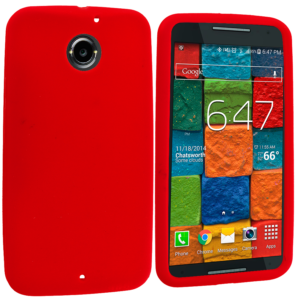 Motorola Moto X 2nd Gen Red Silicone Soft Skin Rubber Case Cover