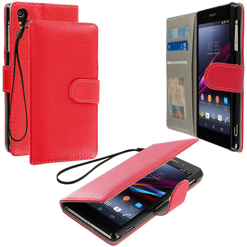 Sony Xperia Z2 Red Leather Wallet Pouch Case Cover with Slots