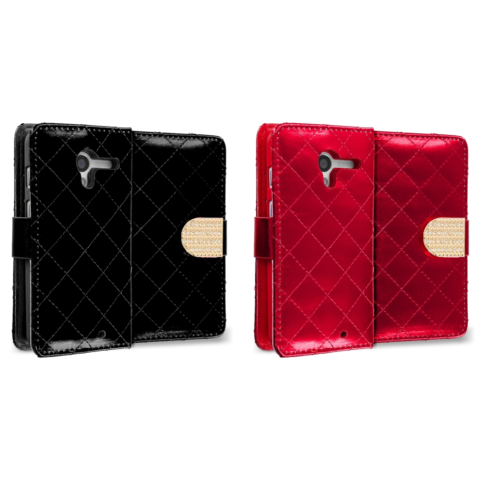Motorola Moto G 2 in 1 Combo Bundle Pack - Black Red Luxury Wallet Diamond Design Case Cover With Slots