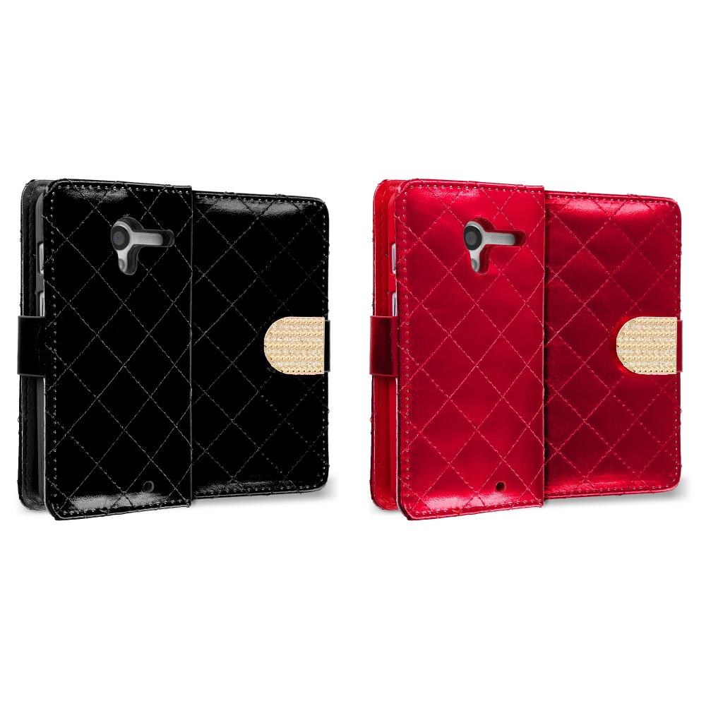 Motorola Moto G 2 in 1 Combo Bundle Pack - Black Red Luxury Wallet Diamond Design Case Cover With Slots