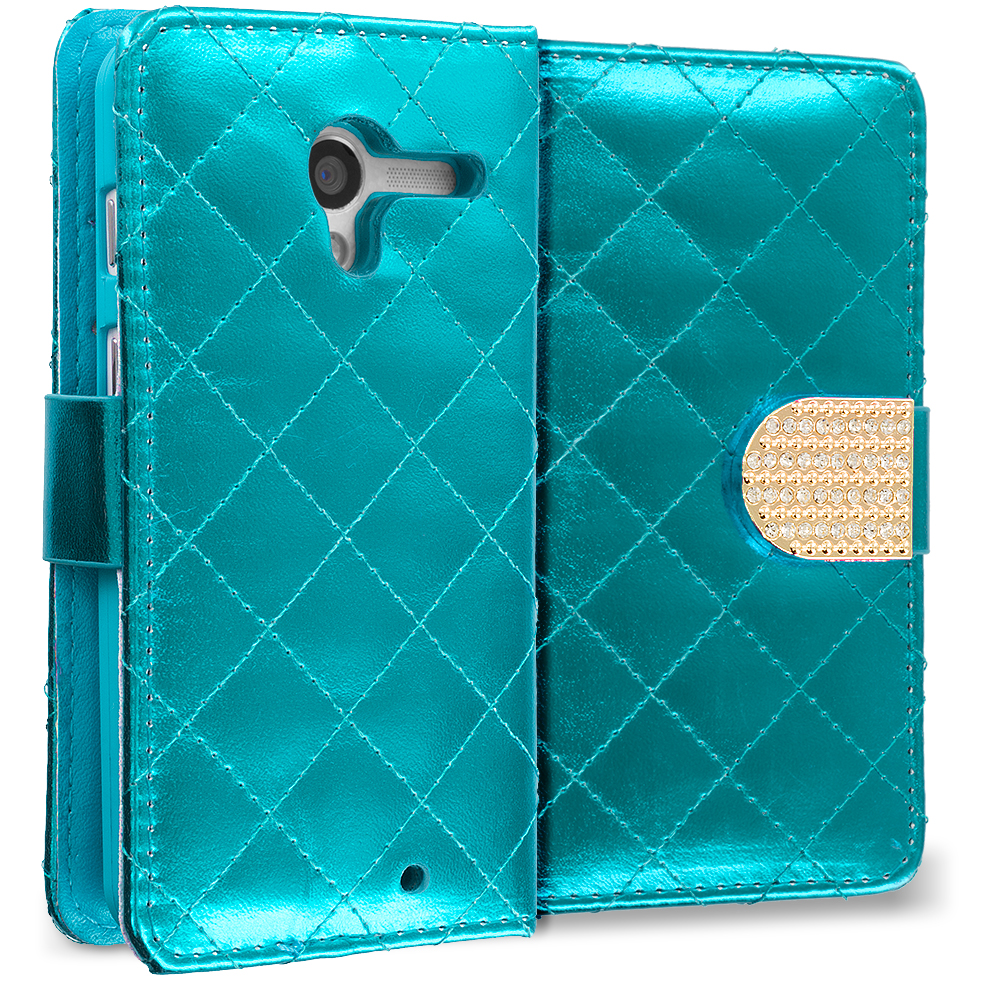 Motorola Moto X 2 in 1 Combo Bundle Pack - Teal Pink Luxury Wallet Diamond Design Case Cover With Slots : Color Teal