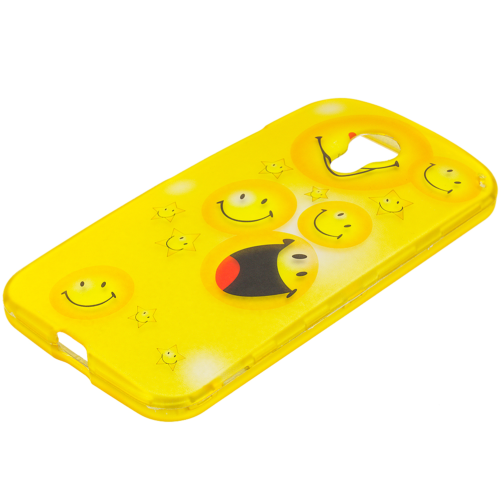 Motorola Moto G 2nd Gen 2014 Smiley Face 2D Hard Rubberized Design Case Cover