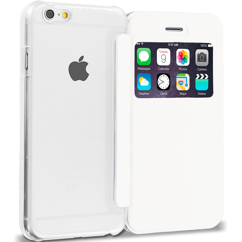 Apple iPhone 6 Plus White Slim Hard Wallet Flip Case Cover Clear Back With Window