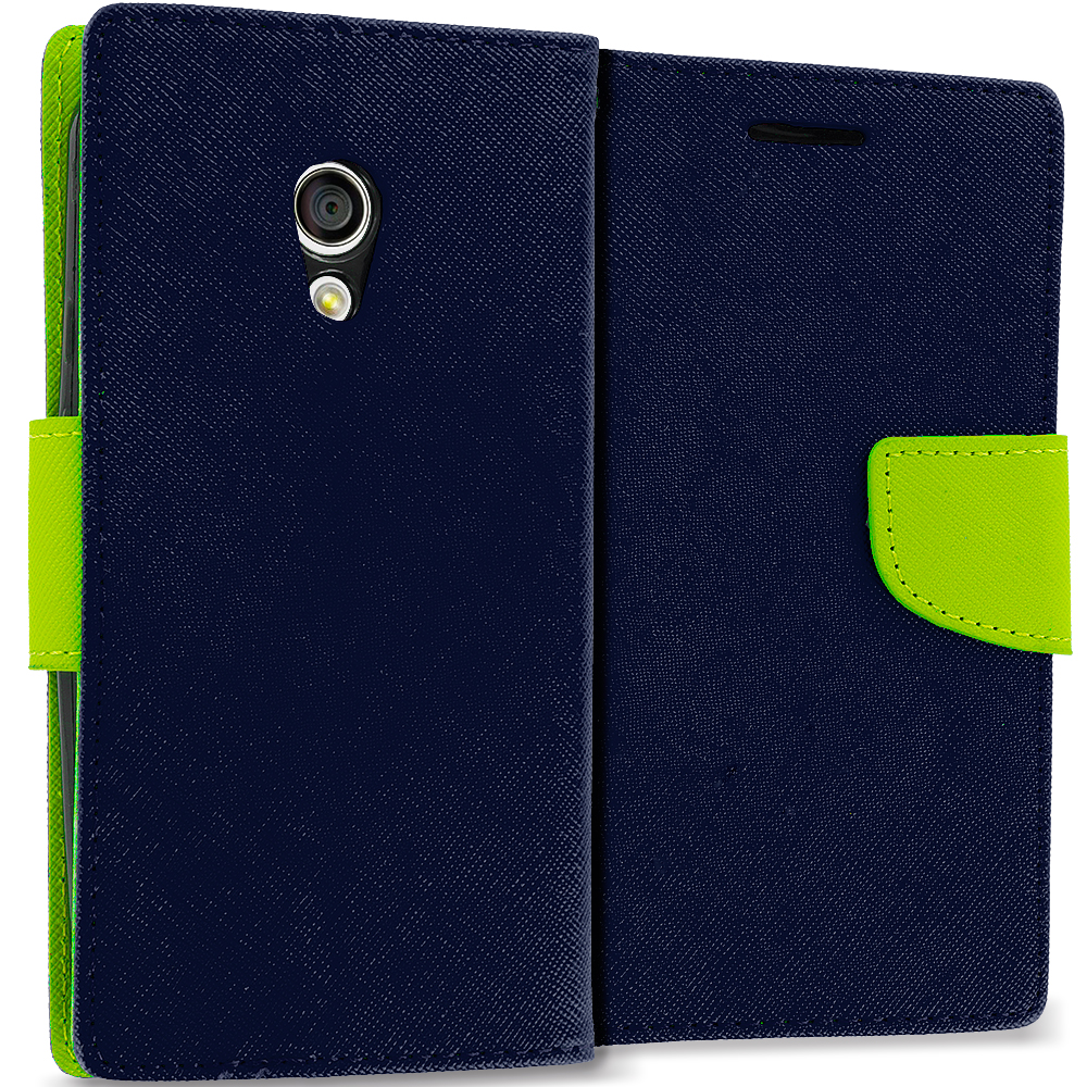 Motorola Moto G 2nd Gen 2014 Navy Blue / Neon Green Leather Flip Wallet Pouch TPU Case Cover with ID Card Slots