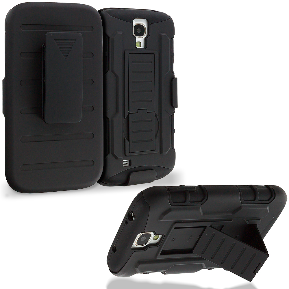 Samsung Galaxy S4 Black Hybrid Rugged Robot Armor Heavy Duty Case Cover with Belt Clip Holster