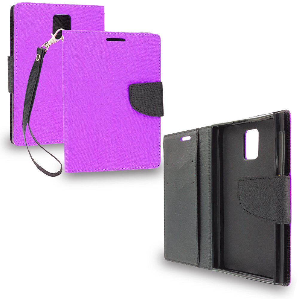Blackberry Passport Purple / Black Leather Flip Wallet Pouch TPU Case Cover with ID Card Slots