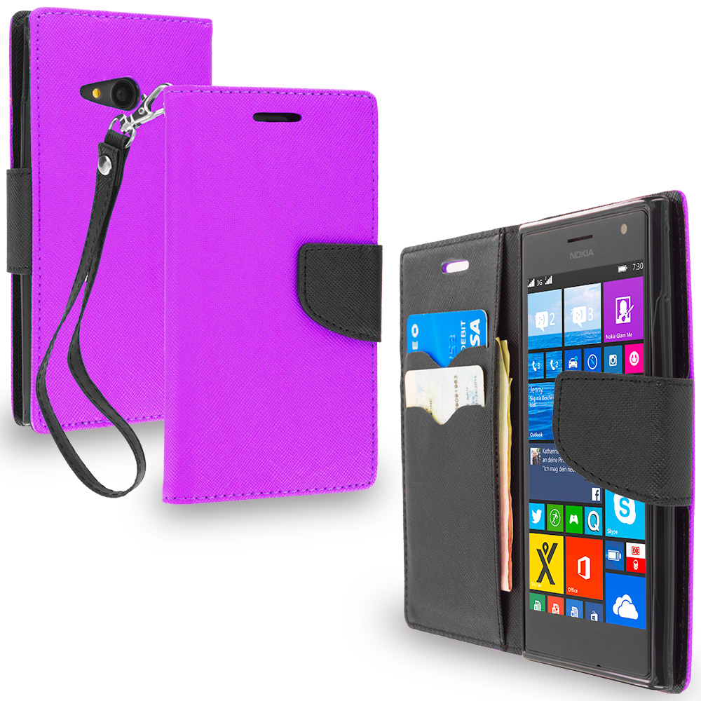 Nokia Lumia 730 735 Purple / Black Leather Flip Wallet Pouch TPU Case Cover with ID Card Slots