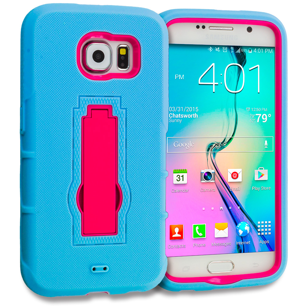 Samsung Galaxy S6 Baby Blue / Hot Pink Hybrid Heavy Duty Hard Soft Case Cover with Kickstand