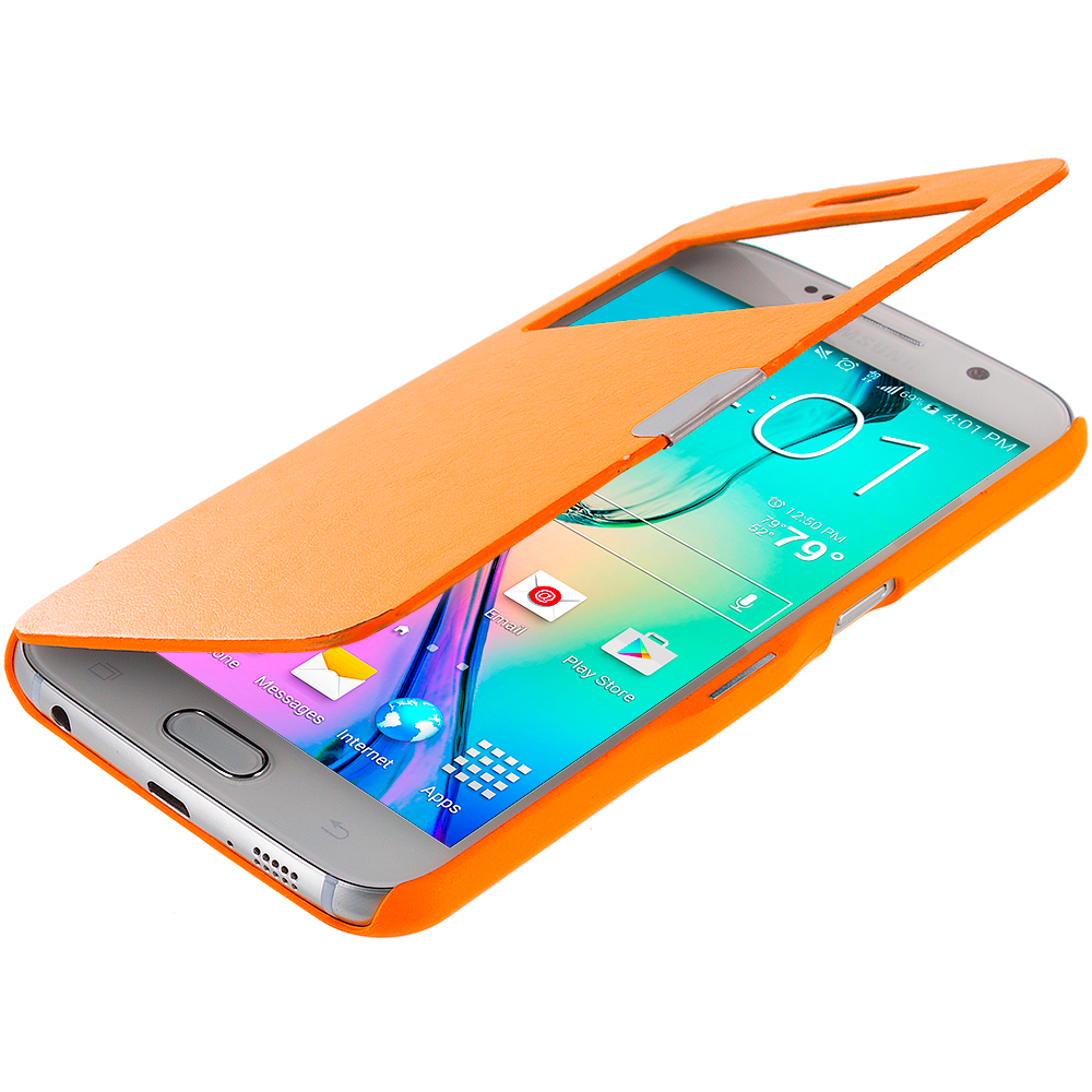 Samsung Galaxy S6 Combo Pack : Red Window Magnetic Flip Wallet Case Cover Pouch : Color Orange Window