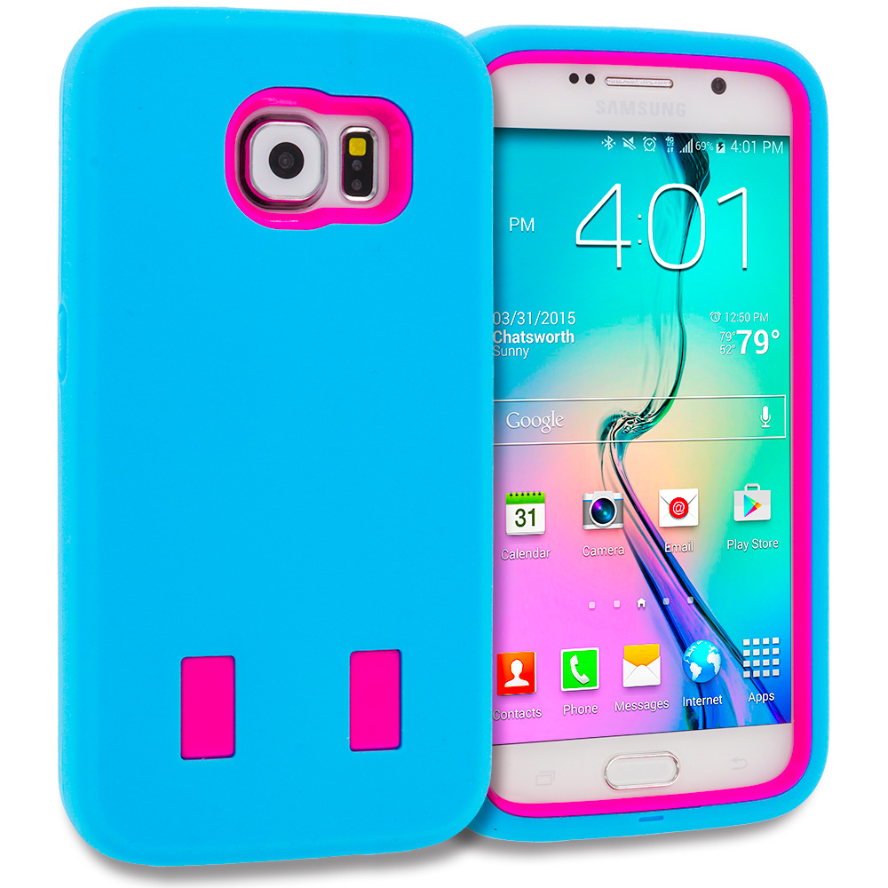 Samsung Galaxy S6 Combo Pack : Baby Blue / Hot Pink Hybrid Deluxe Hard/Soft Case Cover : Color Baby Blue / Hot Pink