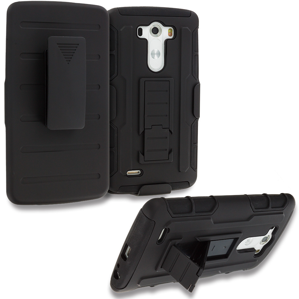 LG G3 Black Hybrid Rugged Robot Armor Heavy Duty Case Cover with Belt Clip Holster