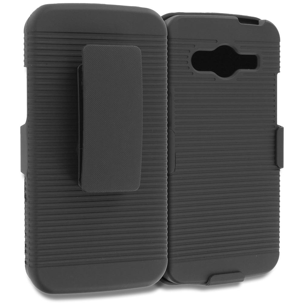 Samsung Galaxy Avant G386 Black Belt Clip Holster Hard Case Cover