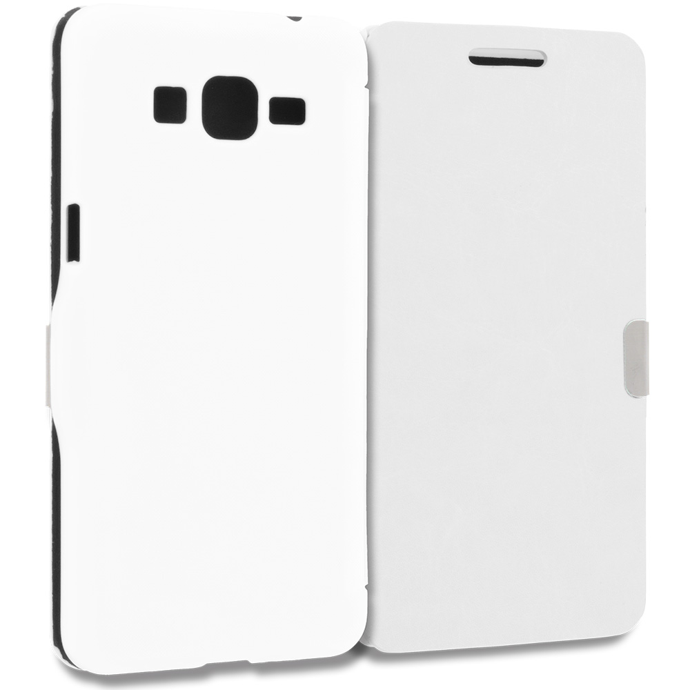 Samsung Galaxy Grand Prime LTE G530 White Magnetic Flip Wallet Case Cover Pouch