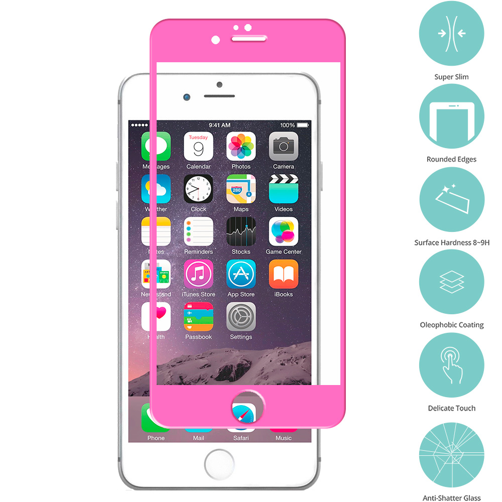 Apple iPhone 6 Plus 6S Plus (5.5) Hot Pink Tempered Glass Film Screen Protector Colored
