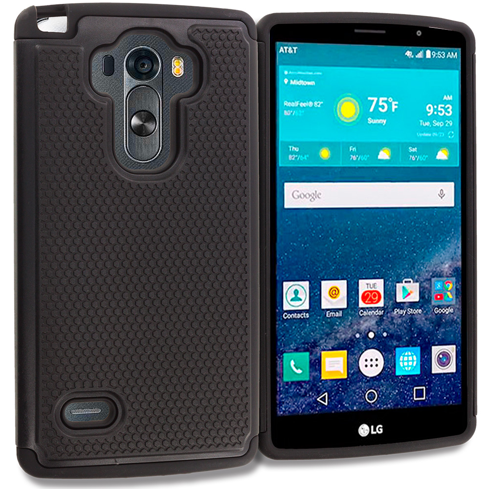 LG G Vista 2 Black Hybrid Rugged Grip Shockproof Case Cover