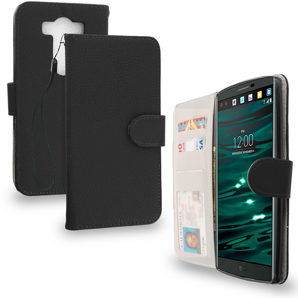 LG V10 Black Leather Wallet Pouch Case Cover with Slots
