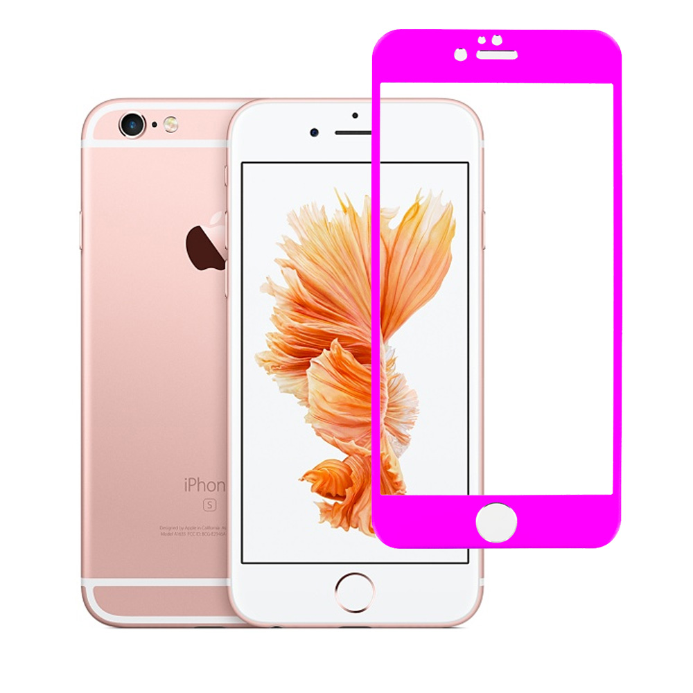 Apple iPhone 6 Plus 6S Plus (5.5) Hot Pink Titanium Tempered Glass Hard Premium Screen Protector