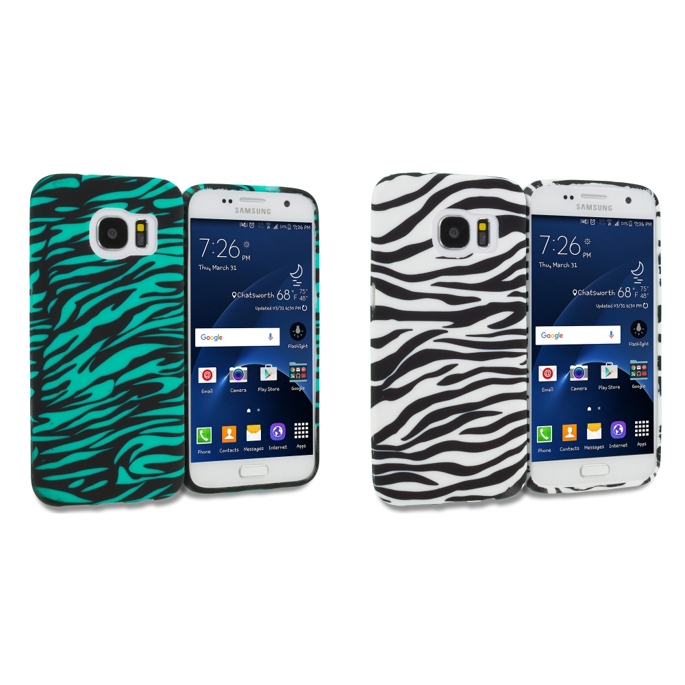 Samsung Galaxy S7 Combo Pack : Black/Baby Blue Zebra TPU Design Soft Rubber Case Cover