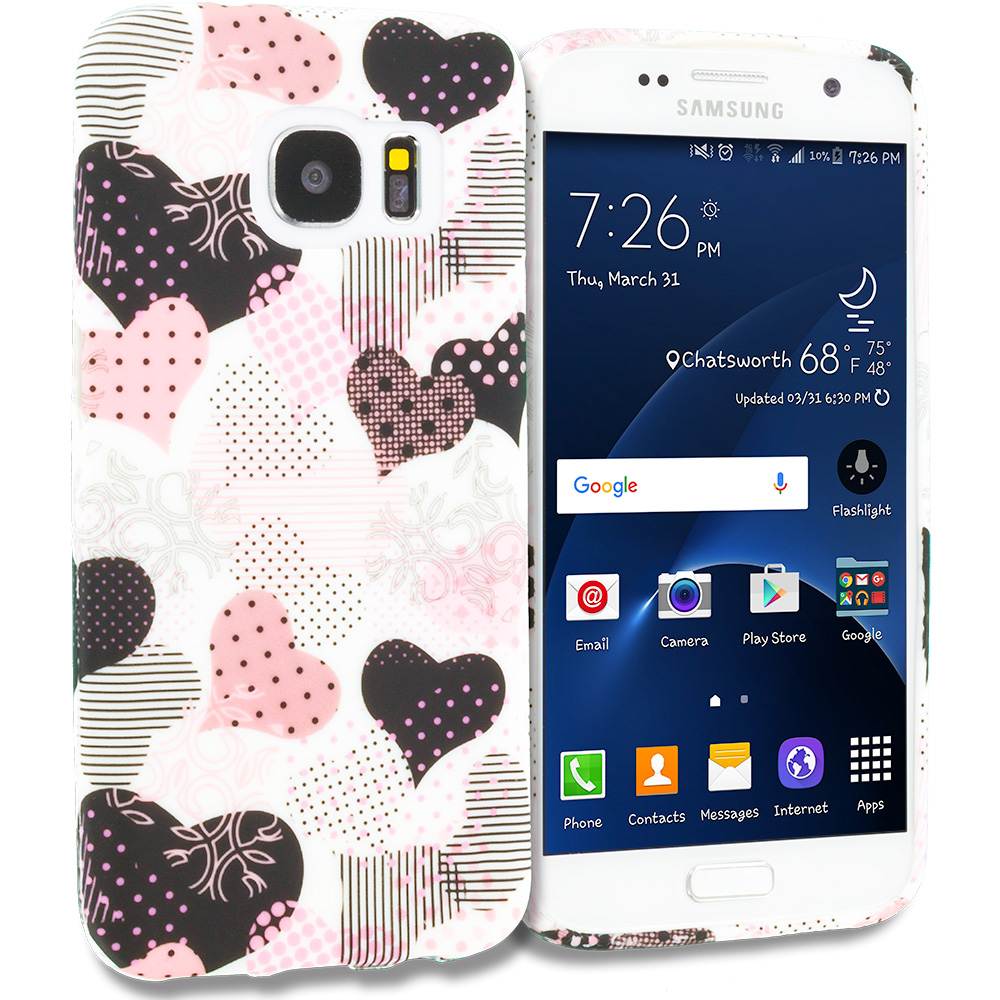 Samsung Galaxy S7 Combo Pack : Love desert on Sliver TPU Design Soft Rubber Case Cover : Color Love desert on Sliver