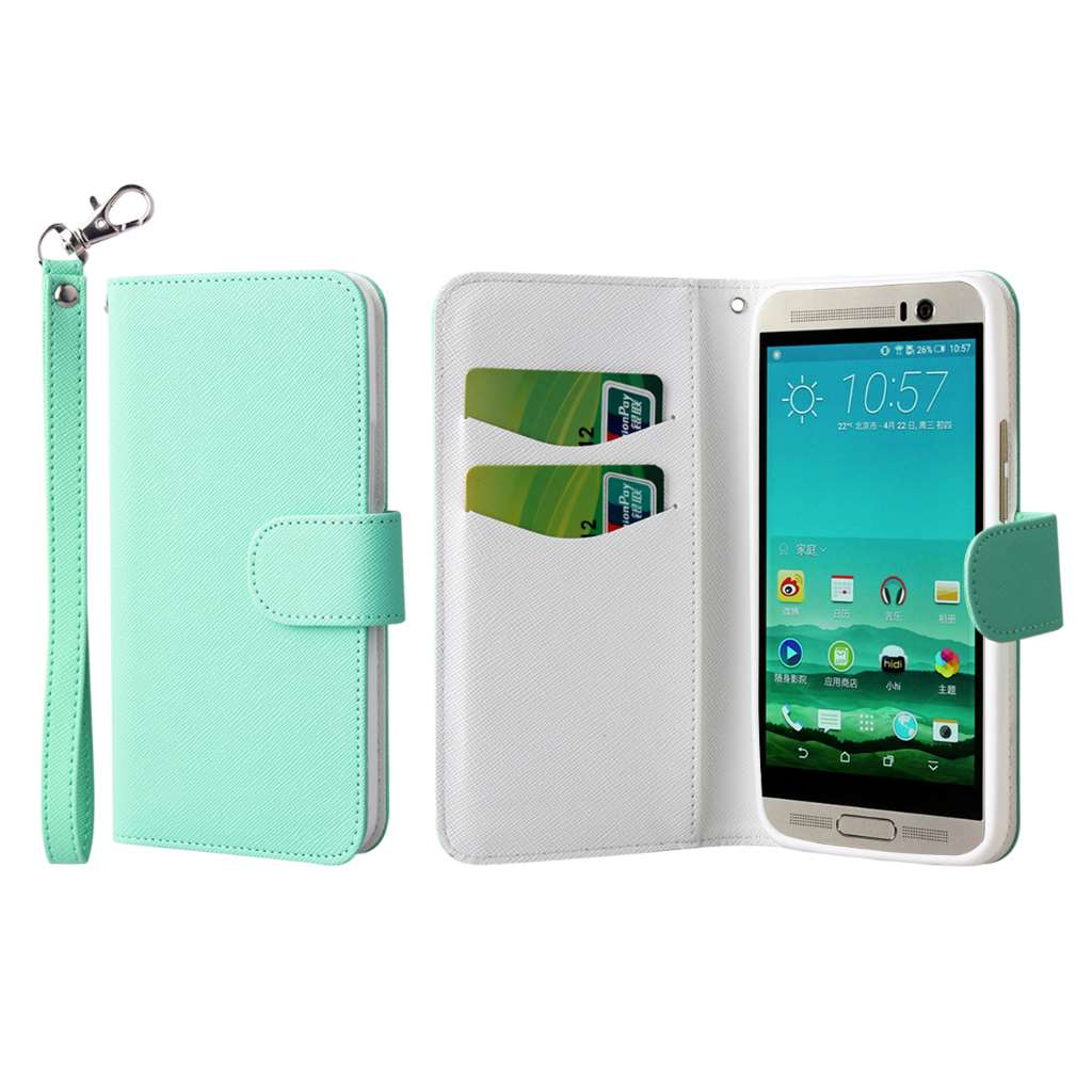 HTC One M9 Plus - Mint MPERO FLEX FLIP Wallet Case Cover