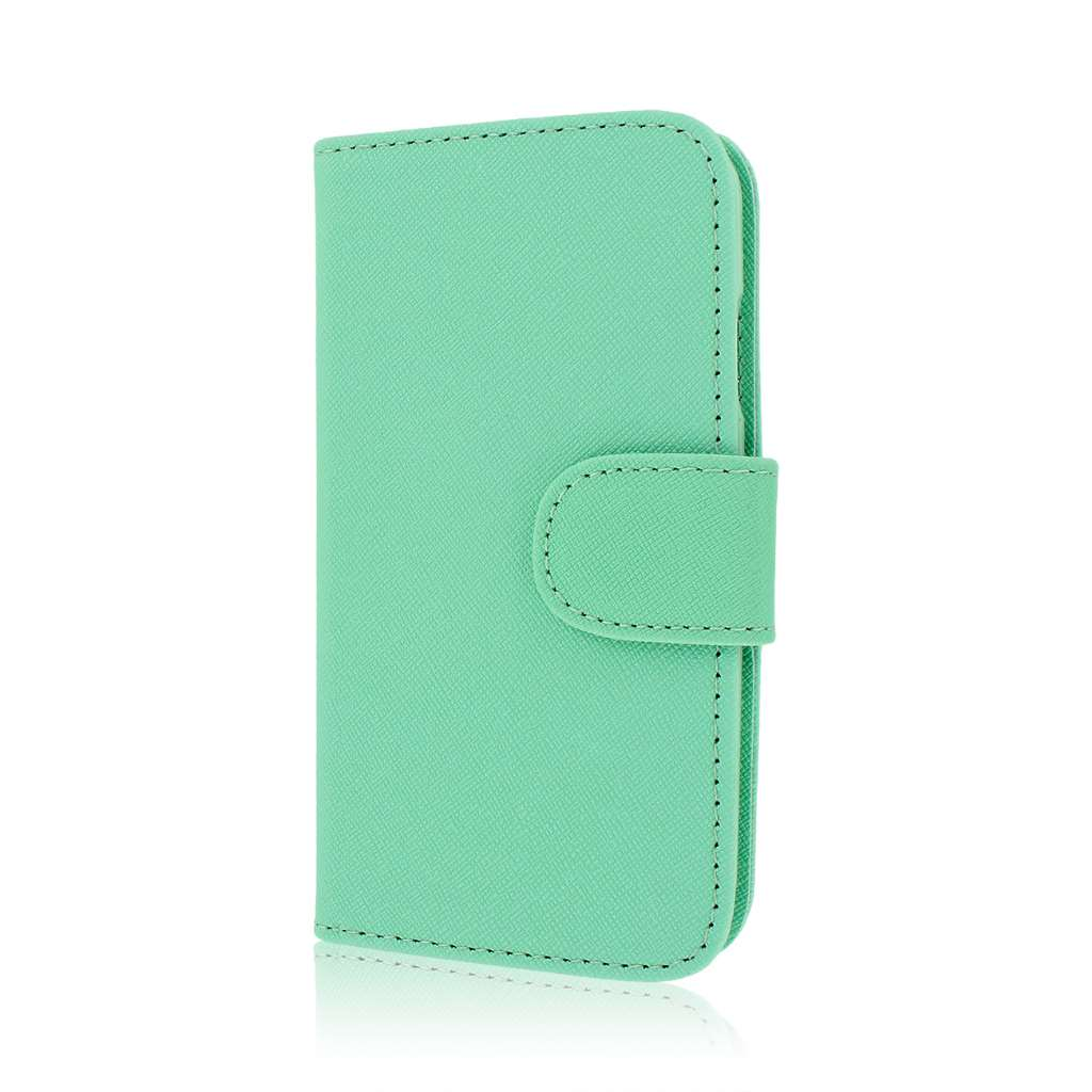 Samsung Galaxy S4 - Mint Green MPERO Leather Wallet Credit Card Case Cover