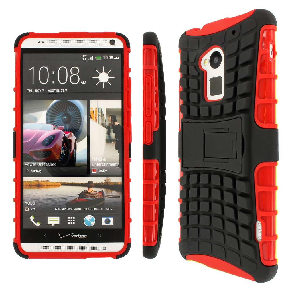 HTC One Max T6 - Black / Red MPERO IMPACT SR - Kickstand Case Cover