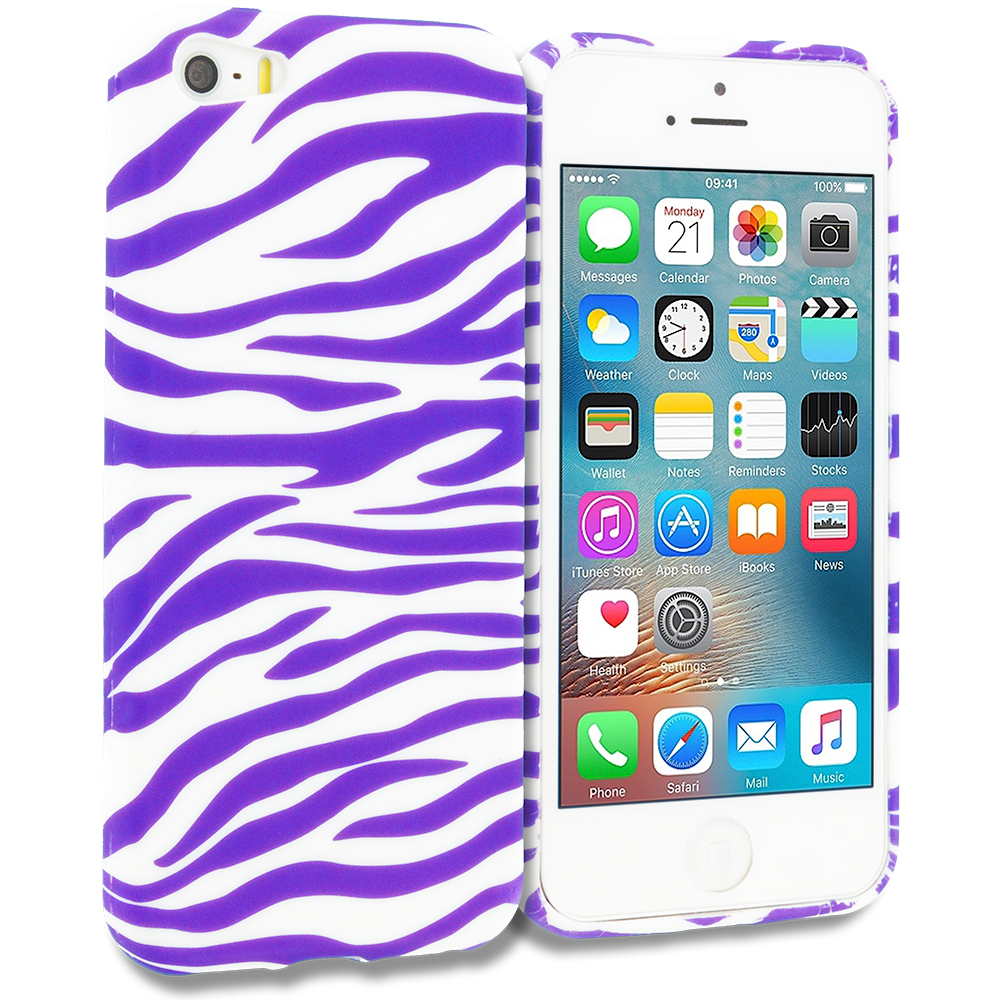 Apple iPhone 5/5S/SE Combo Pack : Pink / White Zebra TPU Design Soft Rubber Case Cover : Color Purple / White Zebra