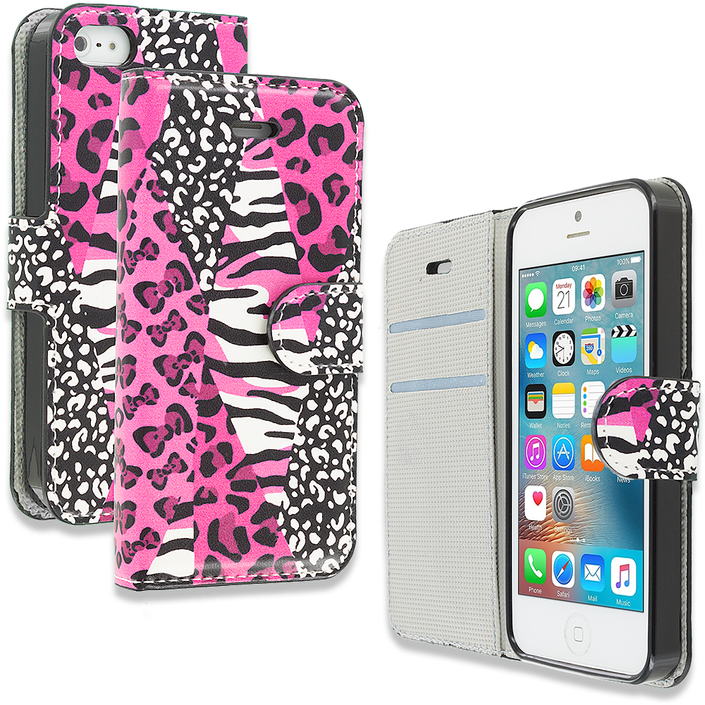 Apple iPhone 5/5S/SE Combo Pack : Bowknot Zebra Design Wallet Flip Pouch Case Cover with Credit Card ID Slots : Color Bowknot Zebra