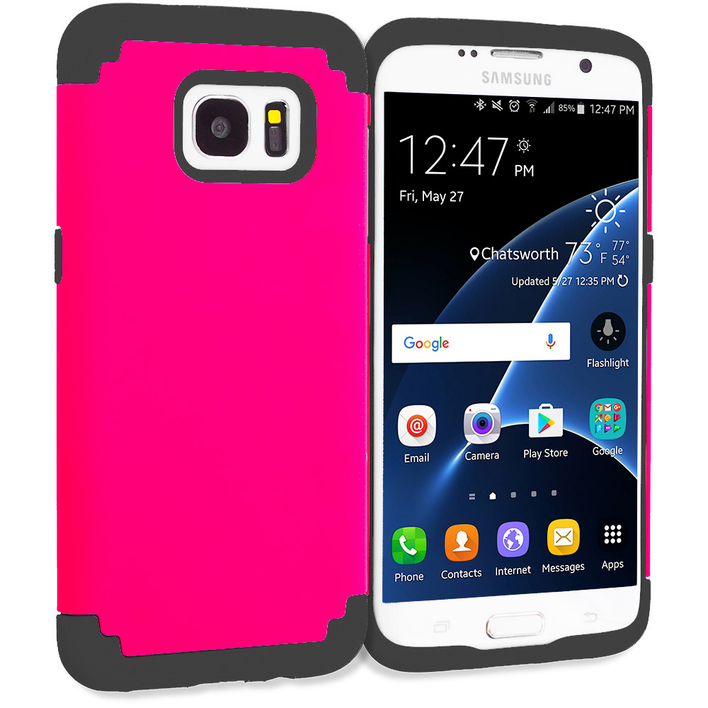 Samsung Galaxy S7 Edge Hot Pink / Black Hybrid Slim Hard Soft Rubber Impact Protector Case Cover