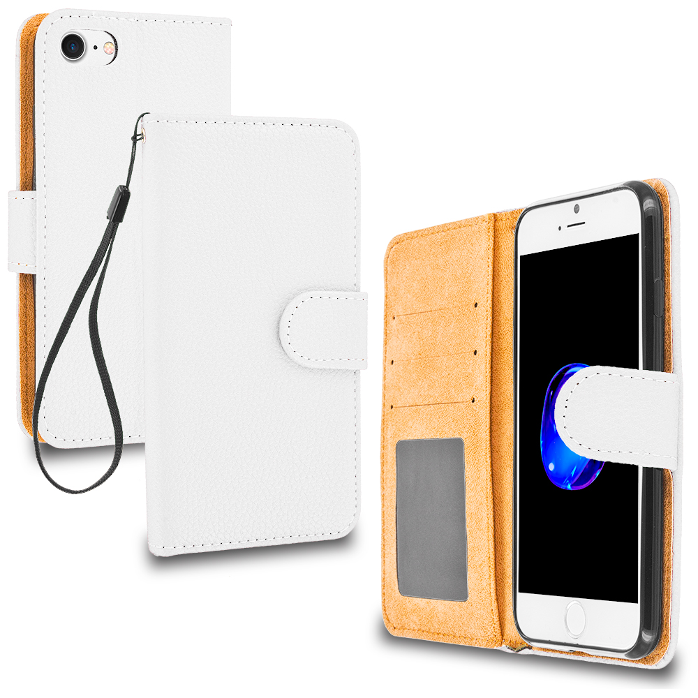 Apple iPhone 7 White Leather Wallet Pouch Case Cover with Slots