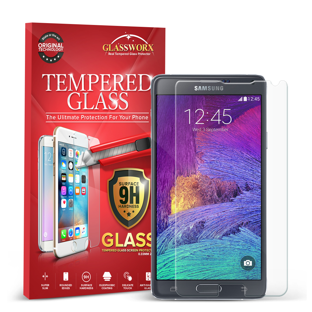 Samsung Galaxy Note 4 GlassWorX HD Clear Tempered Glass Screen Protector