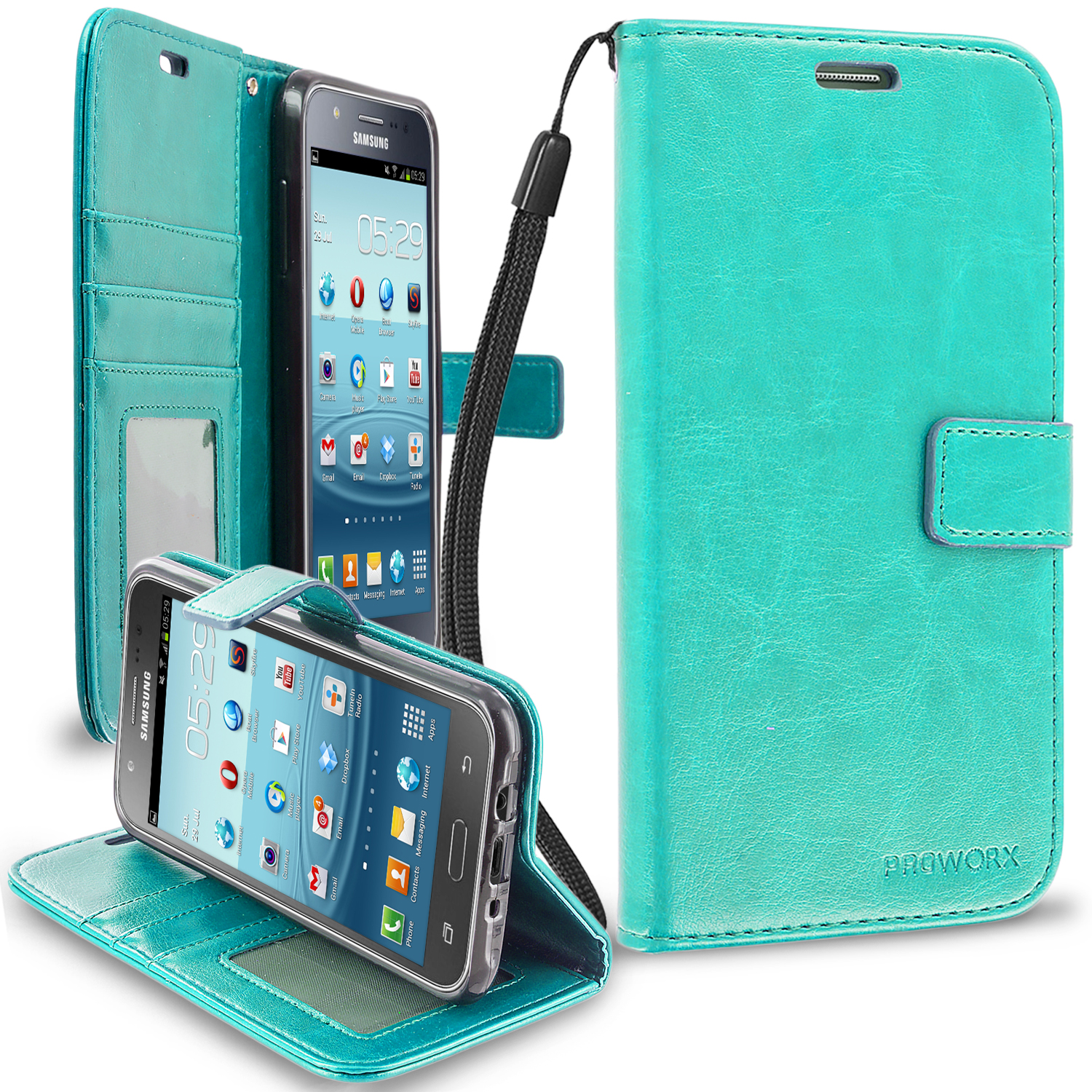 Samsung Galaxy J7 Mint Green ProWorx Wallet Case Luxury PU Leather Case Cover With Card Slots & Stand