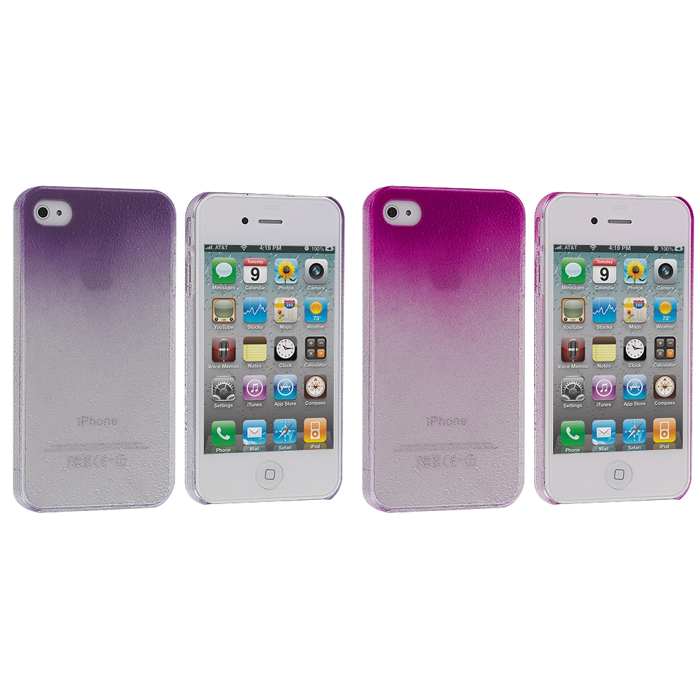 Apple iPhone 4 / 4S 2 in 1 Combo Bundle Pack - Purple Pink Crystal Raindrop Hard Case Cover