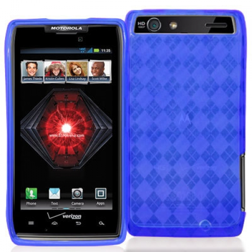 Motorola Droid Razr Maxx XT910 Blue Checkered TPU Rubber Skin Case Cover