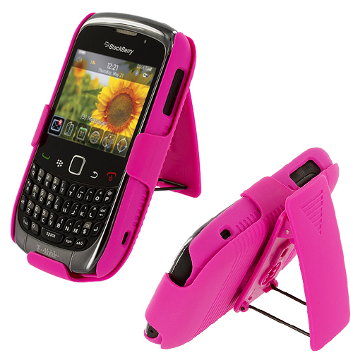 BlackBerry Curve 8520 8530 3G 9300 9330 Hot Pink Hard Rubberized Belt Clip Holster Case Cover