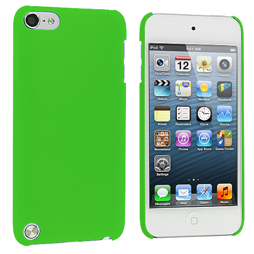 Apple iPod Touch 5th 6th Generation Neon Green Hard Rubberized Back Cover Case