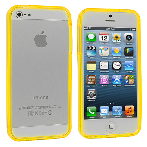 Apple iPhone 5/5S/SE Combo Pack : Hot Pink TPU Bumper : Color Yellow