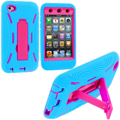 Apple iPod Touch 4th Generation Baby Blue / Hot Pink Hybrid Heavy Duty Hard/Soft Case Cover with Stand