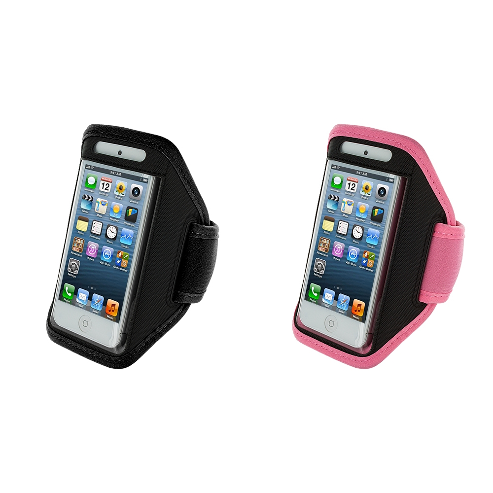 Apple iPhone 5/5S/SE Combo Pack : Black Running Sports Gym Armband