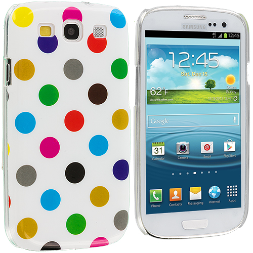 Samsung Galaxy S3 Polka Dot Colorful on White Hard Rubberized Design Case Cover