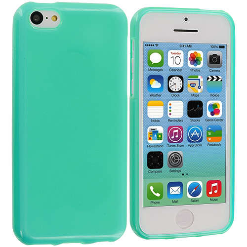 Apple iPhone 5C 2 in 1 Combo Bundle Pack - Clear Mint Transparent Crystal Hard Back Cover Case : Color Mint Green