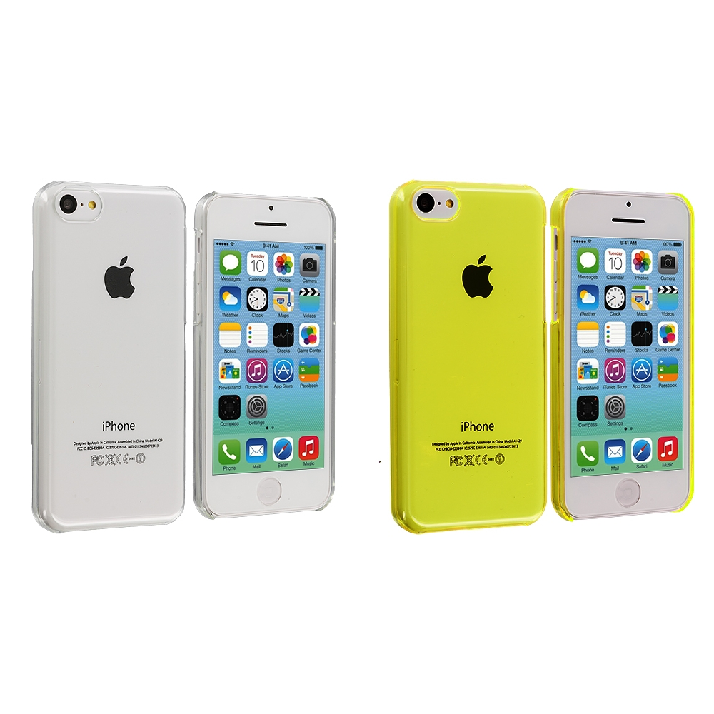 Apple iPhone 5C 2 in 1 Combo Bundle Pack - Clear Yellow Transparent Crystal Hard Back Cover Case